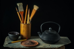 Japanese Tea Pot wit Calligraphy Brushes