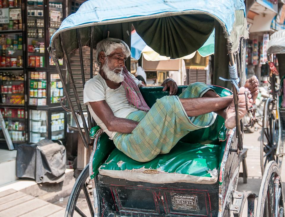 Rickshaw Wallah Dreaming of Better Times - Calcutta, India