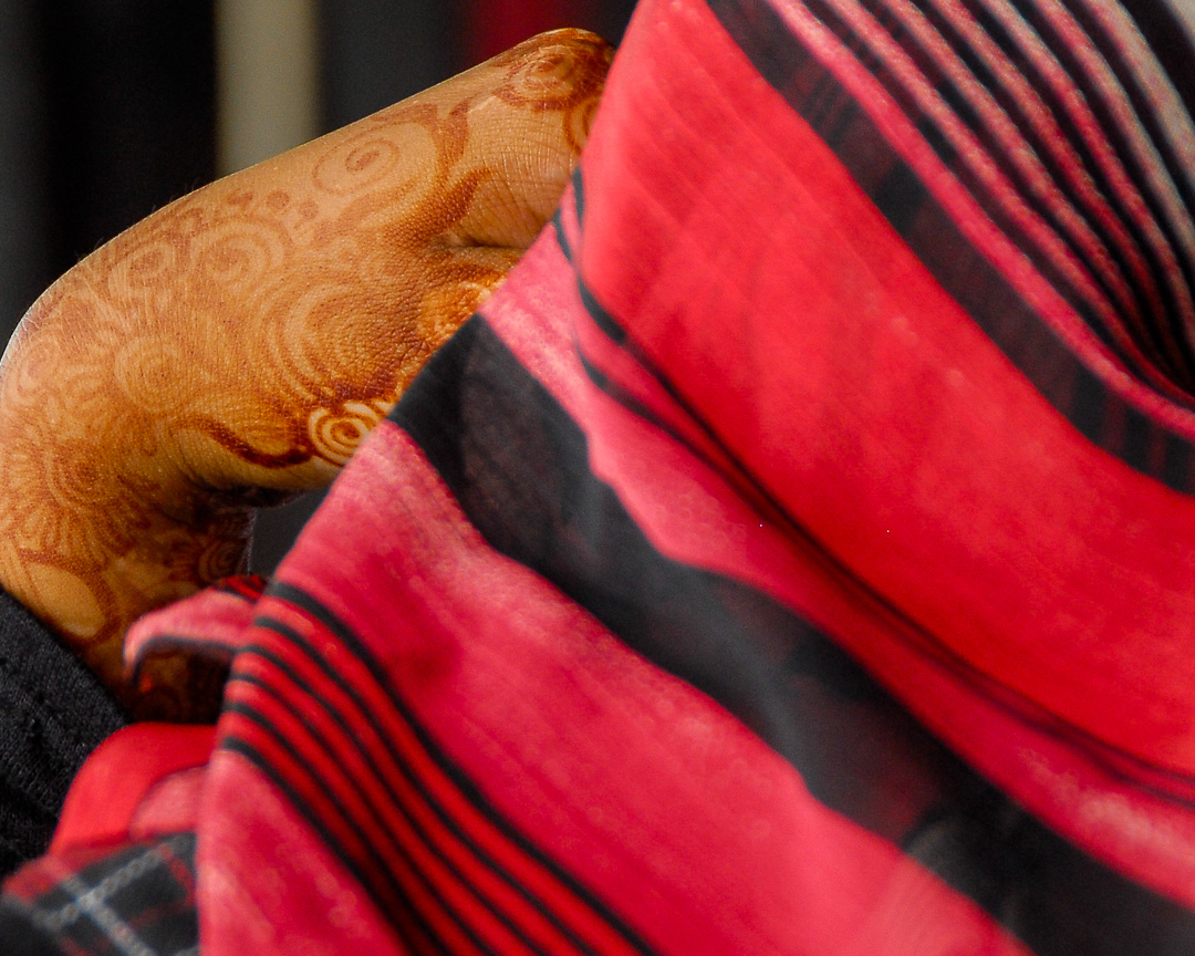 Red Head Covering and Henna, Zanzibar