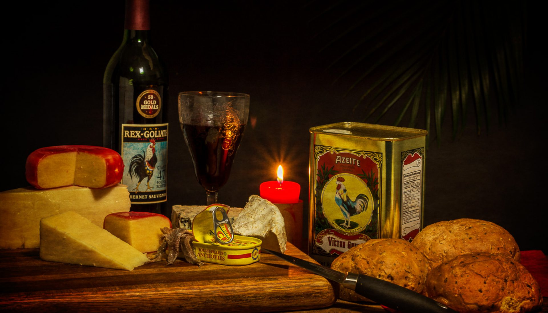 Still Life with Cheese, Anchovies and Roosters