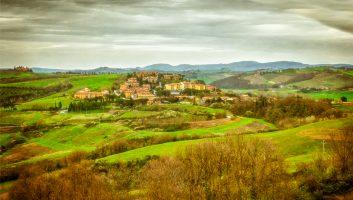 Tiny Torrenieri Tumbling Down a Tuscan Hillside