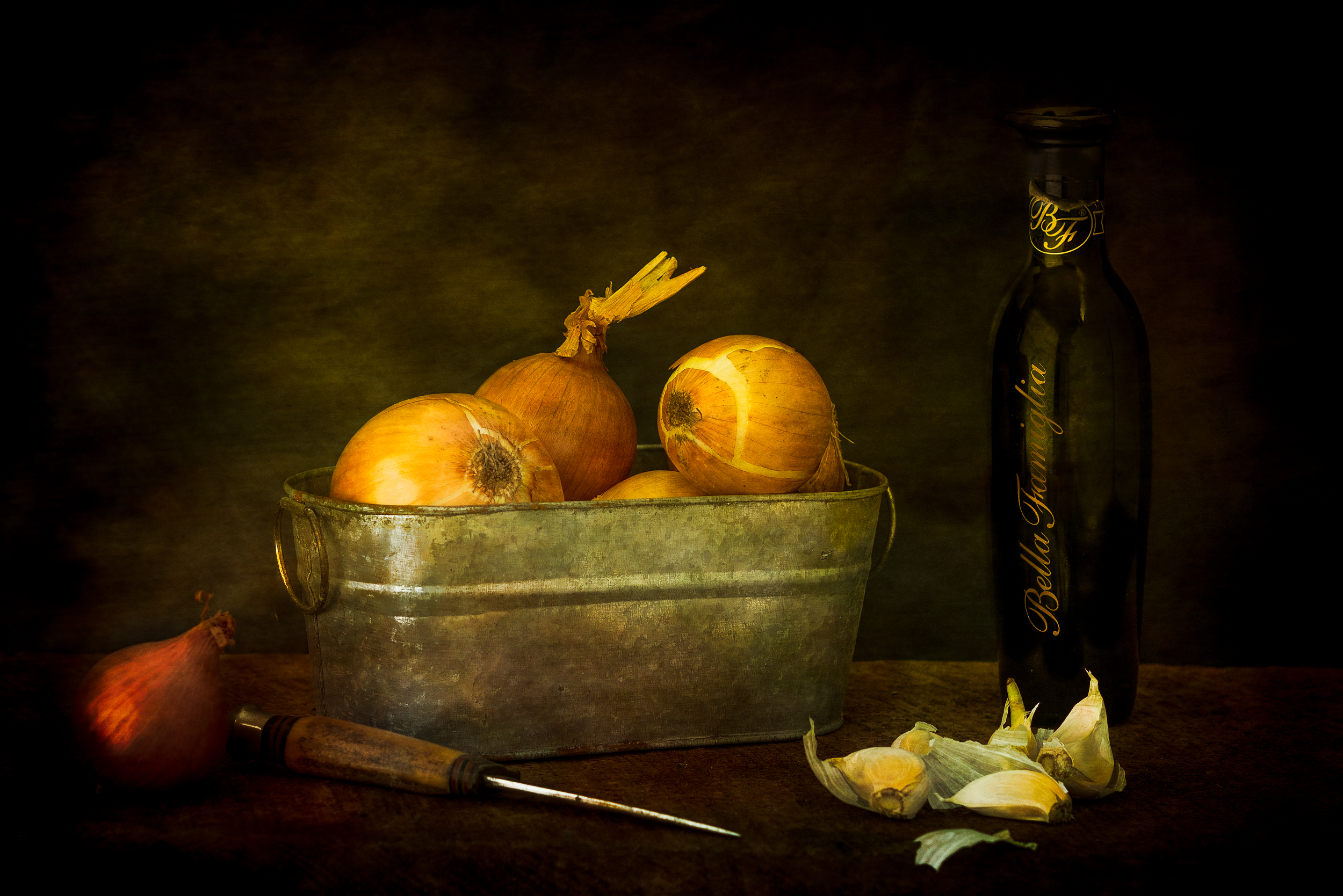 still life with onions and garlic