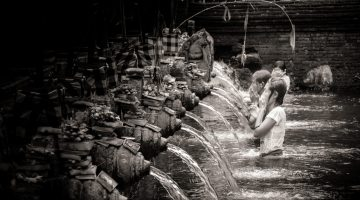 The Faithful Bathing at Tirta Temple, Bali | Monochrome Monday