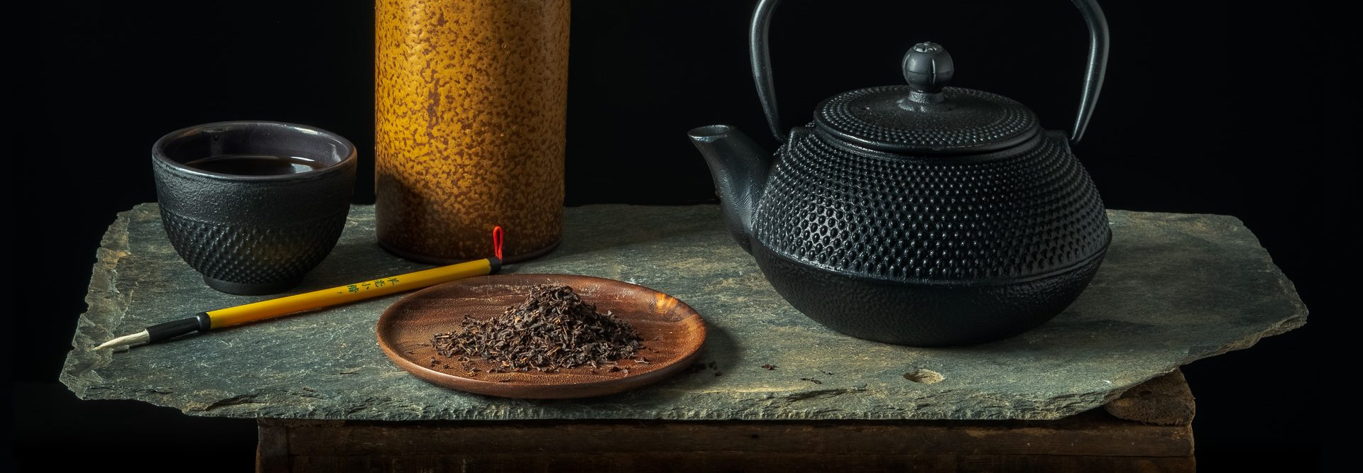 Japanese Tea Pot with Calligraphy Brushes   Still Life Photography
