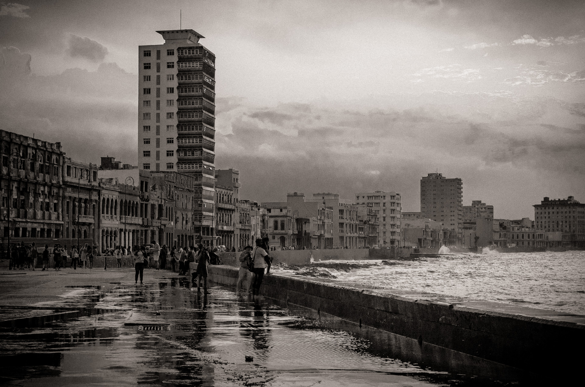 Sunset along the Malacon in Havana, Cuba