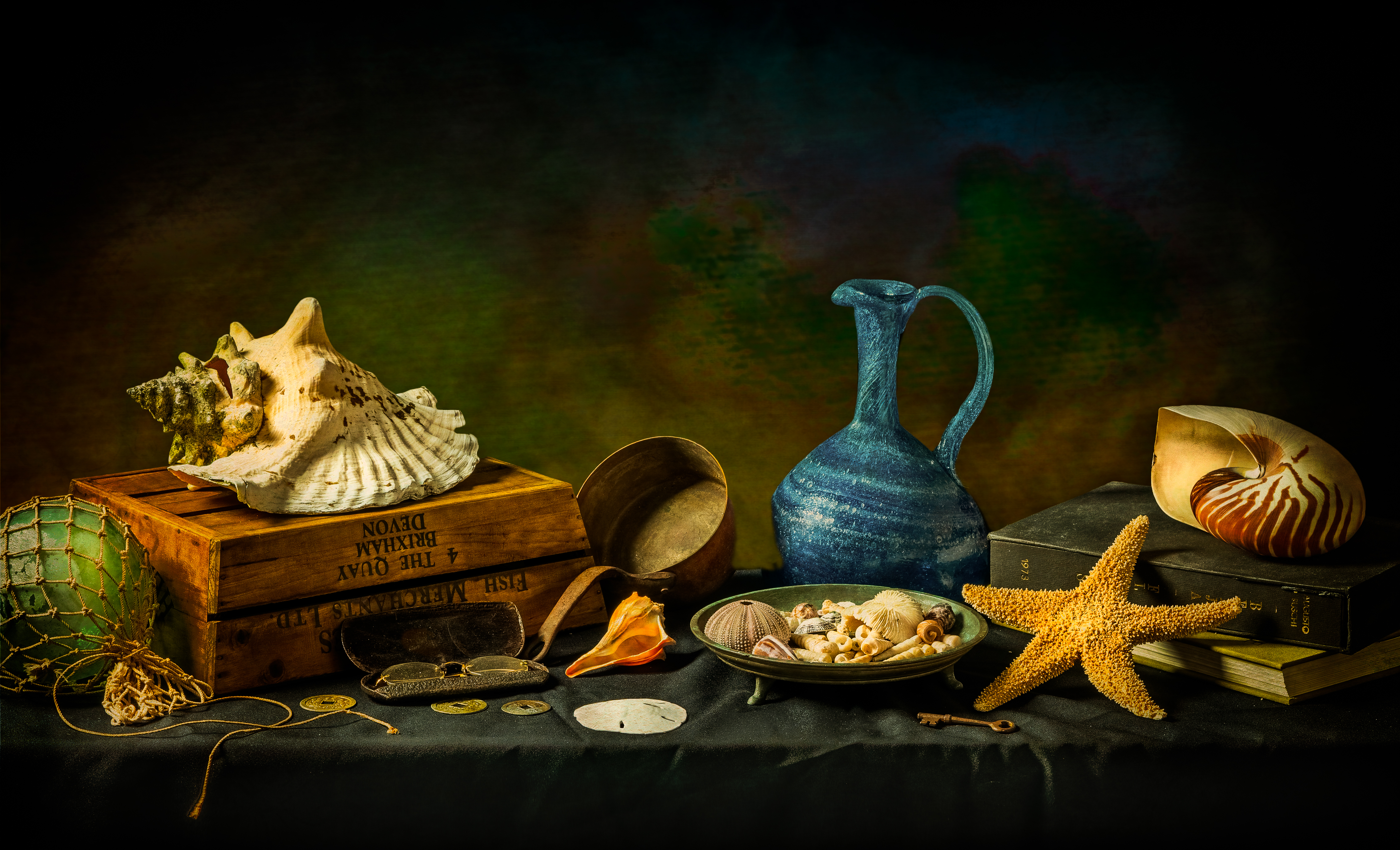 still life photograph with a variety of shells with eyeglasses, books, vase , etc