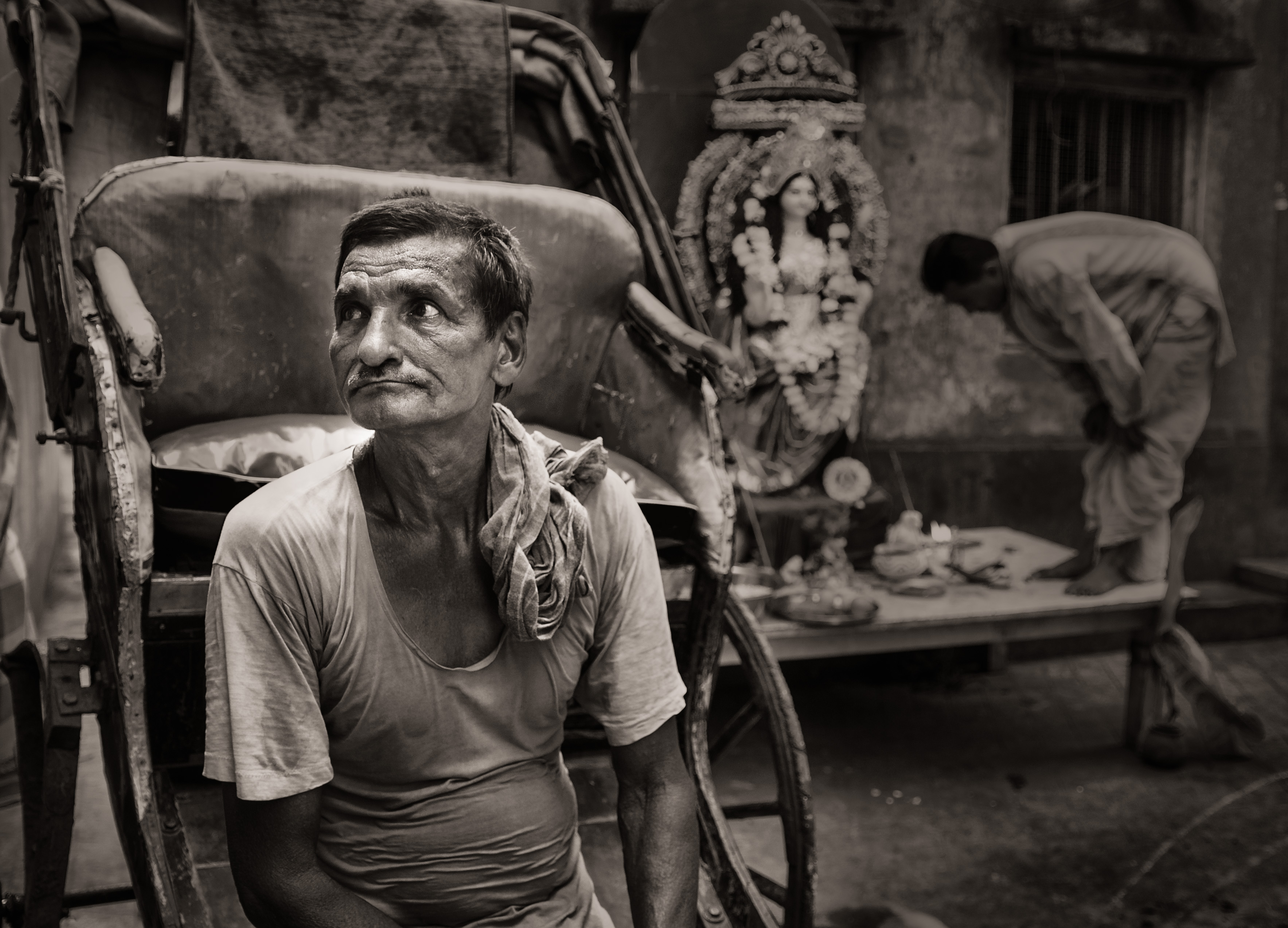 a Rickshaw Puller - Calcutta, India