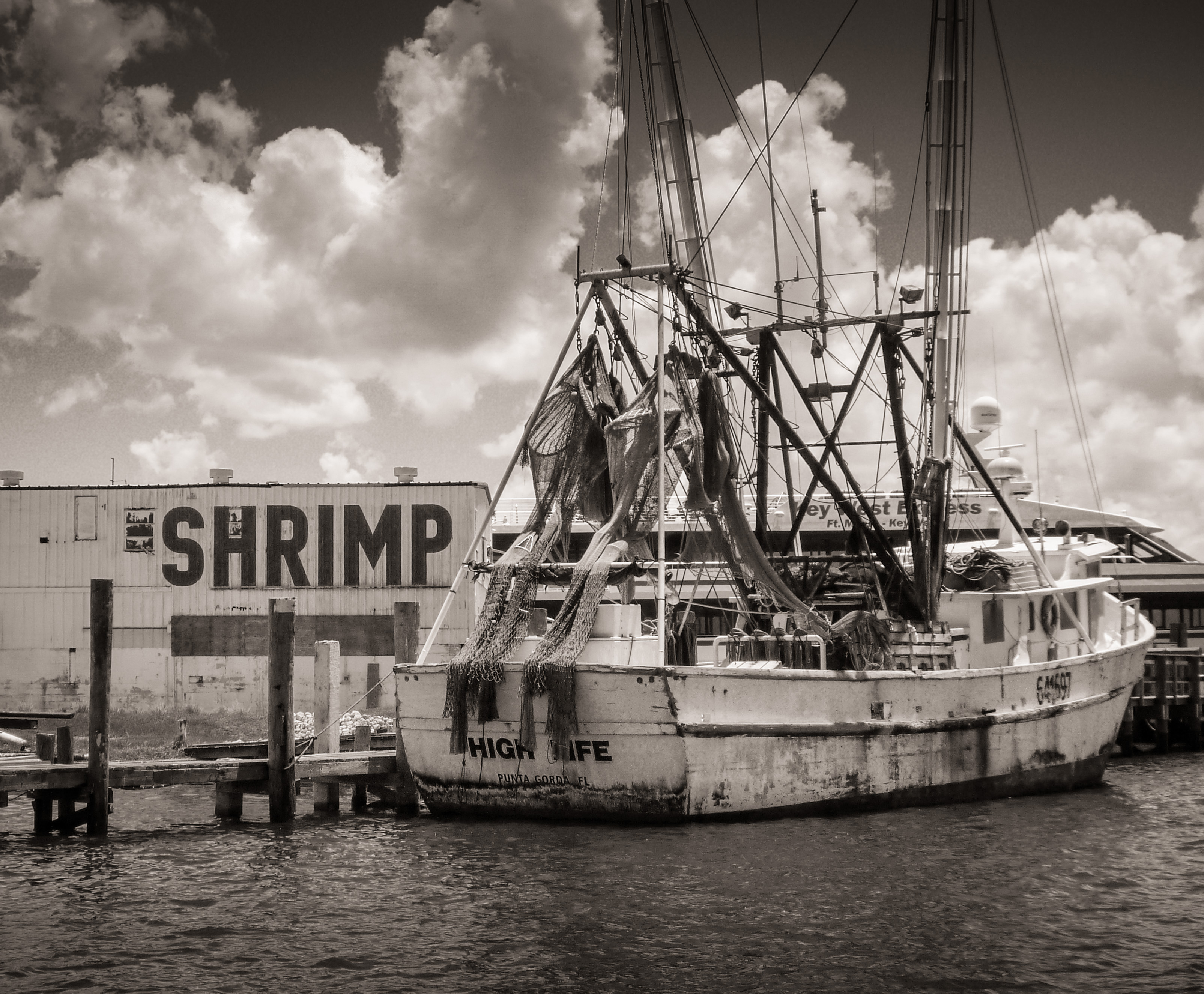 """High Life"" Shrimp Boat at Dock"