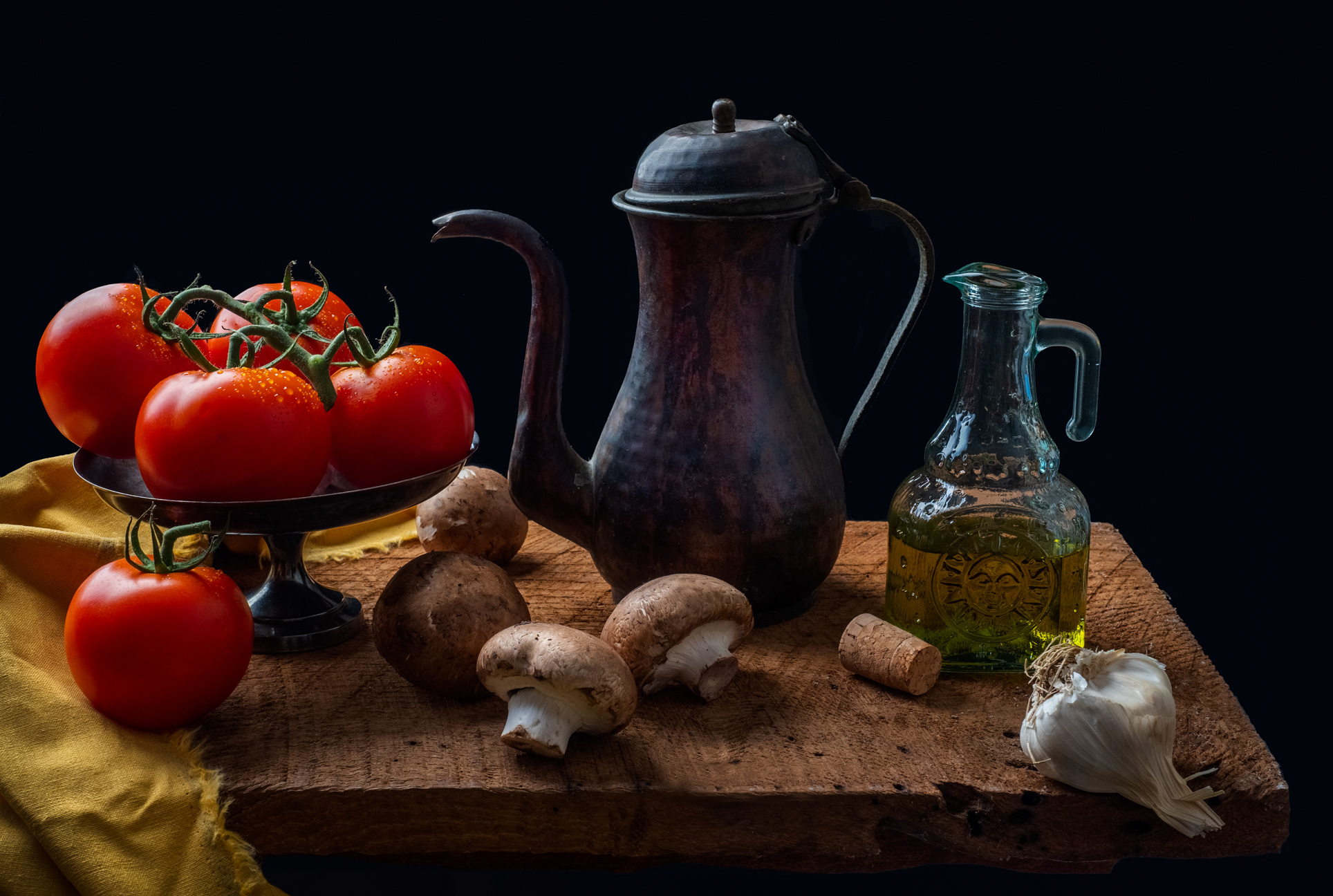 Tomatoes and Mushrooms, a Still Life