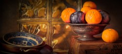 Still Life with Mandarins and Plums